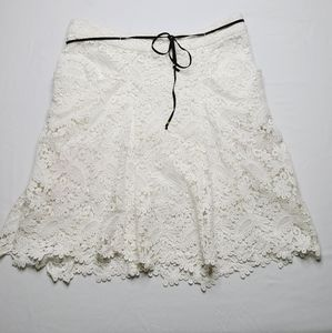 Maje Ivory Crocheted Front Pockets High Low Skirt